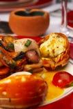 Plato sabroso de productos del mar en el restaurante Imagenes de archivo