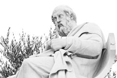 Plato statue. At athens academy, black and white Royalty Free Stock Image