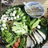 Plato tailandés de la tradición, pla_too de Nam_prick Foto de archivo libre de regalías