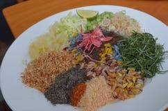 Plato tailandés Khao Yum lleno de hierbas y de arroz fotografía de archivo libre de regalías