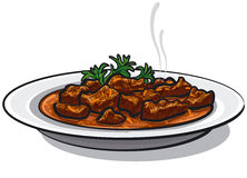 Plato tradicional del cocido húngaro ilustración del vector