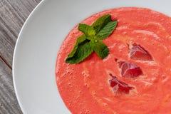 Plato vegetariano La sopa de Gazpacho hizo de los tomates, pepinos, el PE fotos de archivo