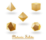 Platoic solids. 3d platoic solids symbol  on white background Stock Images