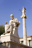 Platon. And Athena in front of Academy of Athens Stock Images