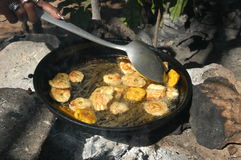 Platones fried bananas local cooking of Dominican. Republic Royalty Free Stock Images