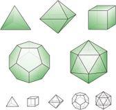 Platonic твердые тела с зелеными поверхностями иллюстрация штока