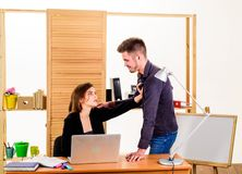 From platonic friendship into romantic love. Romantic couple conducting workplace affair. Boss and secretary having. Romantic relationship. Romantic partnership royalty free stock photography