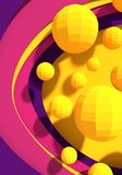 Abstract geometry shape. Platonic solid design. Yellow low poly shapes on paper cut backdrop royalty free illustration