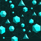 Platonic solids abstract background. Abstract 3d geometrical polygonal background with cyan color shapes -platonic solids on dark green background. Vector Stock Image