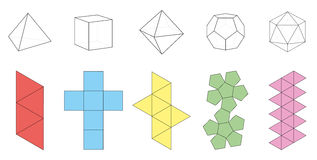 Platonic Solids Figures Nets. Five platonic solids, three-dimensional figures and corresponding nets. Isolated vector illustration over white background Royalty Free Stock Photos