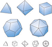 Platonic Solids with green surfaces. Platonic solids - regular, convex polyhedrons in Euclidean geometry - tetrahedron, hexahedron, octahedron, dodecahedron and Stock Photos