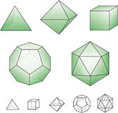 Platonic solids with green surfaces. Platonic solids - regular, convex polyhedrons in Euclidean geometry. There are five solids, each is named according to its Stock Photography