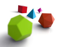 Platonic solids. An illustration of various platonic solids on white background Royalty Free Stock Images