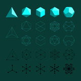 Platonic solids. Tetrahedron, Octahedron, Cube, Icosahedron and Octahedron flat design illustrations, thin line art. Coordination polyhedra of atoms, molecules Stock Photos
