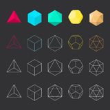 Platonic solids, vector set. Vector illustration, line design Stock Photography