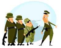 Platoon and commander. Vector illustration of a platoon and commander Stock Images