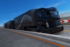 Platoon driving of autonomous hybrid trucks driving on highway. 3D rendering image stock illustration