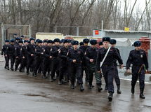 The platoon marches in the military canteen. Stock Photo