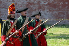 A platoon of members of the club of military reenactors of the guard of the fortress (city museum) Stock Photos