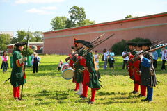 A platoon of members of the club of military reenactors of the guard of the fortress (city museum) Stock Image