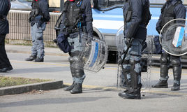 Platoons of riot police officers during anti-terrorism checks Royalty Free Stock Photography