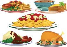 Platos clasificados de la comida Foto de archivo libre de regalías