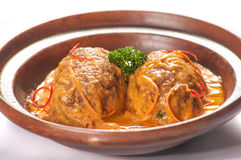 Platos de la cocina internacional en un restaurante Fotografía de archivo libre de regalías