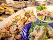 Platos de la langosta y del camarón Foto de archivo libre de regalías