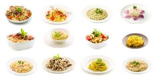 Platos de las pastas y del arroz - collage Fotos de archivo libres de regalías