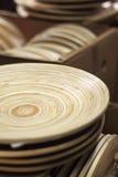 Platos de madera Imágenes de archivo libres de regalías