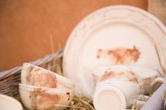 Platos de porcelana pintados a mano pasados de moda Imagenes de archivo