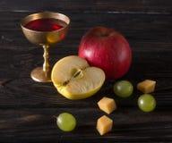 Platos del vintage con la uva, la manzana y el vino Fotos de archivo