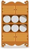 Platos en el armario Foto de archivo libre de regalías