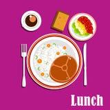 Platos, ensalada y bebida sanos del almuerzo Imagen de archivo