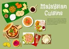 Platos malasios de la cocina y postres sabrosos ilustración del vector