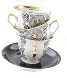 Platos para el café de la recepción, pote del café, platillo Fotografía de archivo libre de regalías