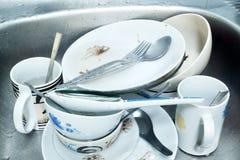 Platos sucios. Imagen de archivo libre de regalías