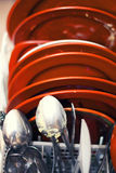 Platos sucios en el lavaplatos Fotografía de archivo libre de regalías