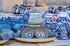 Platos tradicionales del Uzbek para la consumición del té fotografía de archivo libre de regalías