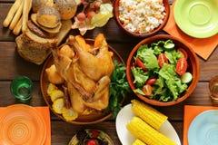 Platos tradicionales para el día de la acción de gracias de la cena del día de fiesta Foto de archivo libre de regalías