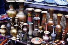 Platos turcos de cerámica de plata orientales del vintage Fotografía de archivo libre de regalías