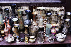 Platos turcos de cerámica de plata orientales del vintage Fotos de archivo