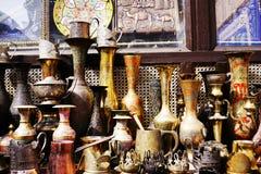 Platos turcos de cerámica de plata orientales del vintage Imágenes de archivo libres de regalías