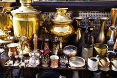 Platos turcos de cerámica de plata orientales del vintage Fotos de archivo libres de regalías