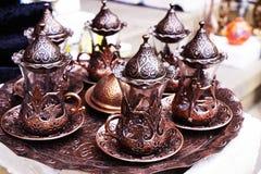 Platos turcos de cerámica de plata orientales del vintage Foto de archivo libre de regalías