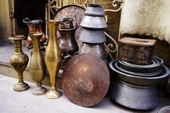 Platos turcos de cerámica de plata orientales del vintage Fotografía de archivo