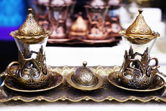 Platos turcos de cerámica de plata orientales del vintage Imagen de archivo libre de regalías