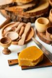 Platos y cera de madera Fotografía de archivo