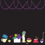 Platos y flores Imagen de archivo libre de regalías