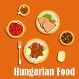 Platos y postres húngaros del almuerzo libre illustration